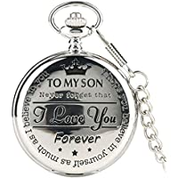 Quartz Pocket Watch Numeral to My Son Love Roman Round Display Vintage with Gift Box