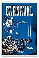 カーニバル・デ・ラ・ハバナ1946 - ハバナ、キューバ - 2月3月 - ビンテージな広告ポスター によって作成された エンリク・キャラヴィア・モンテネグロ c.1946 - アートポスター - 33cm x 48cm