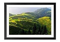 木製の枠 ズックの印刷する絵画 家の壁の装飾画 ポスター (35x50cm) テラス、美しい田舎