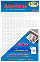 Pack of 3060 1/2 Round Circle Dot Labels White 8 1/2 x 11 Sheet Fits Any Printer [並行輸入品]
