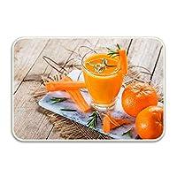 玄関マット トイレマット 滑り止めのキッチンマット バスマット ウェルカムドアのマット ドアマットの屋内/屋外用Delicious Orange Juice