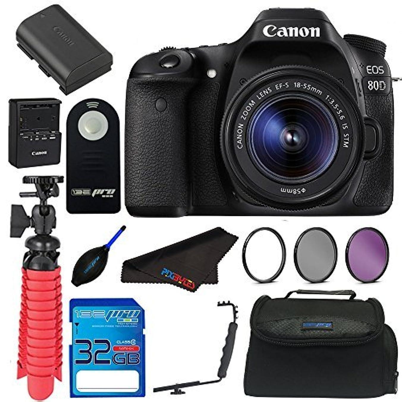 怖い飢え抵抗力があるCanon EOS 80D Digital SLR Kit with EF-S 18-55mm Lens (Black) + Elements Accessory Bundle [並行輸入品]