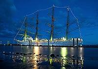 絵画風 壁紙ポスター (はがせるシール式) 帆船 ライトアップ クリッパー セーリング・シップ ヨット 航海 海 キャラクロ SSHP-019A1 (A1版 830mm×585mm) 建築用壁紙+耐候性塗料