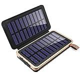 Aimshine ソーラーチャージャー モバイルバッテリー 24000mAh超大容量 電源/太陽光充電可 2.4A急速充電対応 2枚ソーラーパネル(改良版)2USB出力ポート LEDランプ搭載 緊急対応用品 iPhone/Andoroid電源充電可