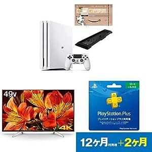 PlayStation 4 Pro グレイシャー・ホワイト 1TB(Amazon.co.jp限定特典付) + ソニー ブラビア 49V型液晶テレビ(KJ-49X8500F) + PlayStation Plus 12ヶ月利用権 セット