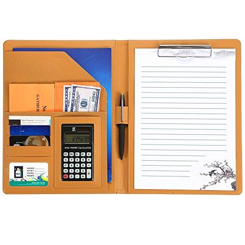 多機能フォルダー12位電卓計算機付きA4書類契約フォルダービジネスオフィス用品 レザー高級感 バインダー スピーチ会議用パット デスクパット クリップボード, オレンジ.