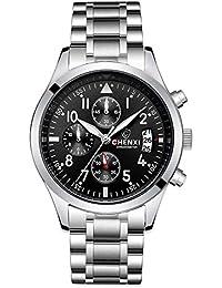 Rockyu ブランド メンズ 男性 腕時計 ビジネス タイマー サファイアガラス 海外ブランド シルバー メンズ時計