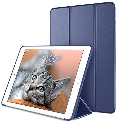 DTTO iPad Mini4 ケース 生涯保証 TPU ソフト 超薄型 超軽量 PUレザー スマートカバー 三つ折り スタンド スマートキーボード対応 キズ防止 指紋防止 [オート スリープ/スリープ解除] ネイビーブルー