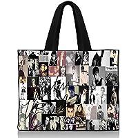 Justin Bieber Collage signature Shoulder Handbags Canvas Tote Bag - 15.5 x 12.5 x 3.5 Inches