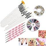 RUIMIO 5 Dotting Pens, 15 Nail Art Brush, 12 Colors Nail Rhinestones and Gold / Silver Studs
