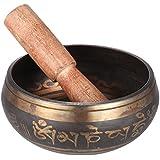 Rakuby 仏教仏教 瞑想&ヒーリングリラクゼーション ストライカー ボウル 3.9インチ 手作りチベットベルメタル