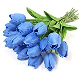 ZEROYOYO Artificial Flowers Real Touch Tulips Fake Flowers Arrangement Wedding Bouquets Home Office Party Wedding Decor (F)