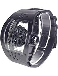 ビッグ レクタングル スケルトン クロス[ベゼル]ブラック[クロス]ブラック[ベルト]ブラック 1325-0202 アンコキーヌ 腕時計 グルグル時計 ぐるぐる時計