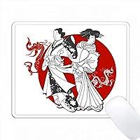 赤い太陽と龍の背景にスタイリッシュな日本のカップル PC Mouse Pad パソコン マウスパッド