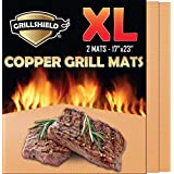 GrillShield Best Large Copper Grill and Bake Mats Set of 2 - Best Gift 2018-17 X 23 inches Non Stick Mats for BBQ Grilling & Baking, Reusable and Easy to Clean
