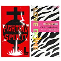 オカモトシー LOVE DOME (ラブドーム) コンドーム ゼブラ 12個入 + FIGHTING SPIRIT (ファイティングスピリット) コンドーム Lサイズ 12個入