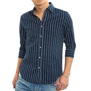 インプローブス 綿麻 シャツ ウッド調ボタン スリム ストレッチ パナマ織りシャツ メンズ B 7分袖 ネイビーストライプ S サイズ