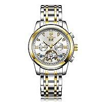 調整可能 メンズ腕時計ビッグフライホイール自動機械式時計爆発発光防水時計 調整可能, B