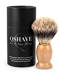 QSHAVE 100%最高級アナグマ毛オリジナルハンドメイドシェービングブラシ。木製ベース。ウェットシェービング、安全カミソリ、両刃カミソリに最適