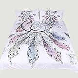 3D効果完全な寝具セット3ピース白羽毛の羽毛布団カバー枕キルトと通気性(シングルダブルクイーンキング),220*240Cm Rventric