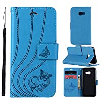 Samsung Galaxy A3 (2017) A320 スマートフォンケース PU Leather Wallet Case Flip Kickstand Function Ultra Folio Flip Slim Card Holder Case Cover レザーケース for Samsung Galaxy A3 (2017) A320 (Blue)