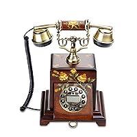 Cqq レトロな電話 レトロ/アンティーク/ソリッドウッドテホン/キーダイヤル/メタルハンドセット、ハンドペイント、彫刻有線電話真ちゅうとソリッドウッド製(サイズ:22 * 31cm)固定電話 (色 : A)