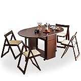 ダイニングテーブル 5点セット 完成品 伸縮 折り畳み コンパクトに収納 引き出し キャスター ブラウン