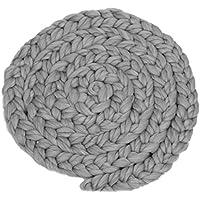 【ノーブランド品】 新生児 ベビーシャワー 出産祝い 写真 小道具 ロービング 編み込み ウールスピニング ラグ 毛布 敷物 全9色