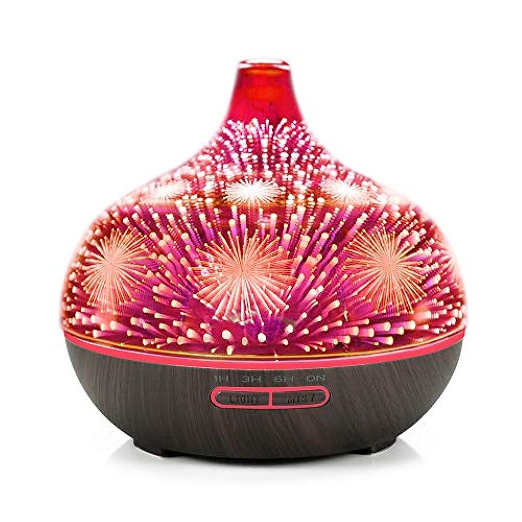Decdeal アロマディフューザー 3Dガラス アロマセラピー 加湿器 7色LEDライト付き 自動シャットオフ ブラックウッドパターンベース&花火LEDライト