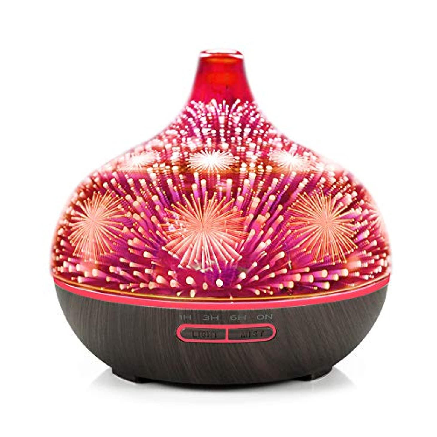 鎮痛剤フラップ見捨てるDecdeal アロマディフューザー 3Dガラス アロマセラピー 加湿器 7色LEDライト付き 自動シャットオフ ブラックウッドパターンベース&花火LEDライト