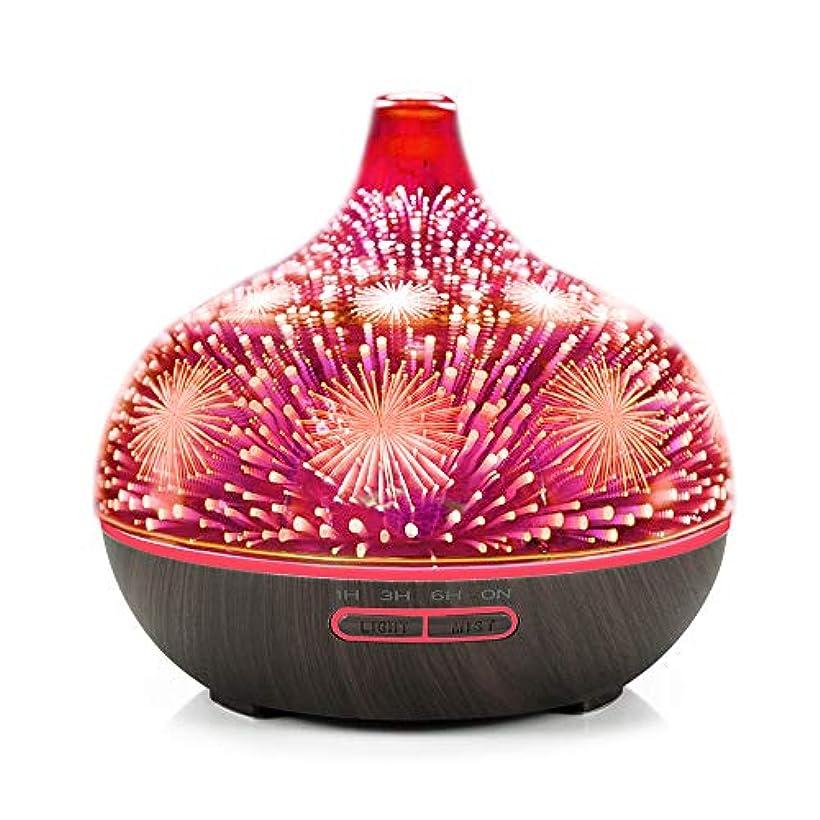 イル空中気取らないDecdeal アロマディフューザー 3Dガラス アロマセラピー 加湿器 7色LEDライト付き 自動シャットオフ ブラックウッドパターンベース&花火LEDライト