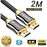 TERSELY 4K HDMI Cable, 2M HDMI Cable 2.0a/b High Speed HDR Ultra FULL HD 4K@60Hz 4:4:4 Resolution 4096*2160 Nylon Net Zinc Alloy Hood Gold Plated Connector for PS4|Xbox 360|Mac|HDTV| Projector|TV Box