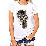 POTOJP Tシャツ カップル服 面白い 穴を破る 猫ちゃん柄 薄手 メンズ 女:登ってきた猫 M