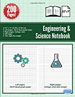 Engineering & Science Notebook: Graph Quad Paper on Left - College Ruled Paper on Right - 200 Pages - 8.5 x 11 Inch - Combination Ruled