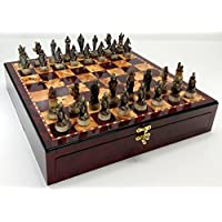 SKELETON SLAYER GOTHIC FANTASY SKULL Chess Set W/ High Gloss Cherry & Burlwood Color Storage Board 17
