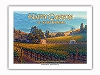 ハッピー・キャニオン・オブ・サンタ・バーバラ・ワイナリー - セントラルコーストAVAブドウ園 - カリフォルニアワインカントリーアート によって作成された カーン・エリクソン - プレミアム290gsmジークレーアートプリント - 30.5cm x 41cm