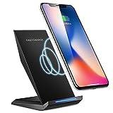 Qi ワイヤレス充電器 急速 ワイヤレスチャージャー スタンド型 10W 置くだけ充電 Quick Charge 2.0 二つのコイル iPhoneX/iPhone8/iPhone8Plus/Galaxy/Nexus など他Qi対応機種 USBケーブル付き 無線充電器