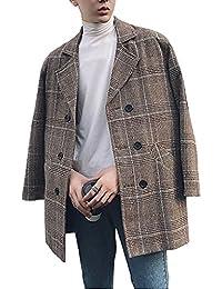 Spinas(スピナス) 大人なムードな一着 メンズ チェック柄 グレンチェック チェスターコートゆったり ダブルルーズコート 2色