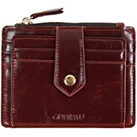 Mens Leather Slim Front Pocket Credit Card Case Holder Wallet With ID Window