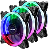 upHere Computer Case Fan 120mm LED Silent Fan for Computer Cases CPU Coolers and Radiators Ultra Quiet Triple Pack Colorful Case Fan