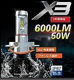 6000LM!PHILIPS Lumileds LUXEON ZES 2代目CHIPオールインワン 1年保証LED ヘッドライト/フォグバルブ H8/H11/H16 兼用タイプ6000LM 1セット/3色DIY 3000KB/6000KB/8000K3000lm*2 6000lm ホワイトLED 超MINIサイズオールインワンキット 360度照射角度調整可能