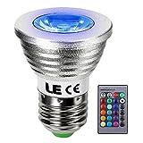 LE 3W MR16 E27口金 LED電球 調光 調色 リモコン操作 16色 4発光モード ビーム角30° RGB