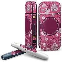 IQOS 2.4 plus 専用スキンシール COMPLETE アイコス 全面セット サイド ボタン デコ フラワー 花 フラワー ピンク 模様 007813