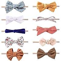 Baby Girls Nylon Elastic Headbands Soft Flower Leather Bow Hair Band for Newborn Infant Toddler kids Set of 10