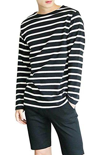 (UN ANANAS) ベーシック カジュアル ボーダー Tシャツ メンズ トップス カットソー 綿混素材 サイズ フリー (ブラック)