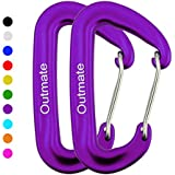 Outmate Carabiner Clip,12kN Aluminium Alloy Carabiners,Heavy Duty Clips 2645lbs/1200kg,Perfect Gear for Hammocks Camping Hiking Keyring and Utility