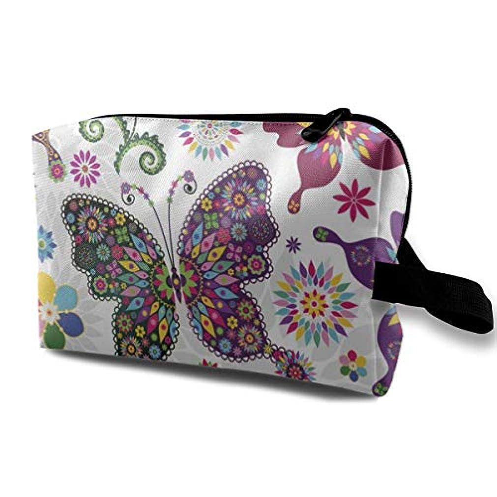左ミント毎週Colorful Butterfly And Flower 収納ポーチ 化粧ポーチ 大容量 軽量 耐久性 ハンドル付持ち運び便利。入れ 自宅?出張?旅行?アウトドア撮影などに対応。メンズ レディース トラベルグッズ
