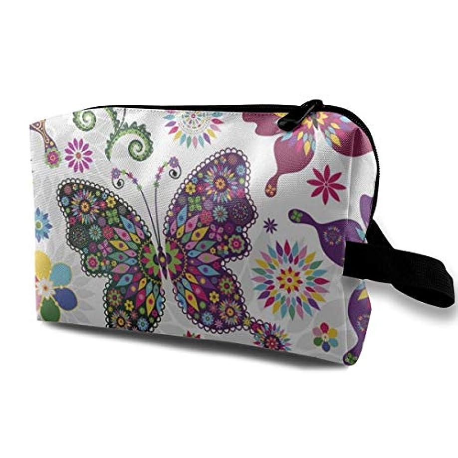 ボード摘む比喩Colorful Butterfly And Flower 収納ポーチ 化粧ポーチ 大容量 軽量 耐久性 ハンドル付持ち運び便利。入れ 自宅?出張?旅行?アウトドア撮影などに対応。メンズ レディース トラベルグッズ