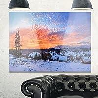"""デザインアートSnowyカラフルDawn In Mountains Landscapeメタル壁アート 28x12"""" MT11004-28-12"""
