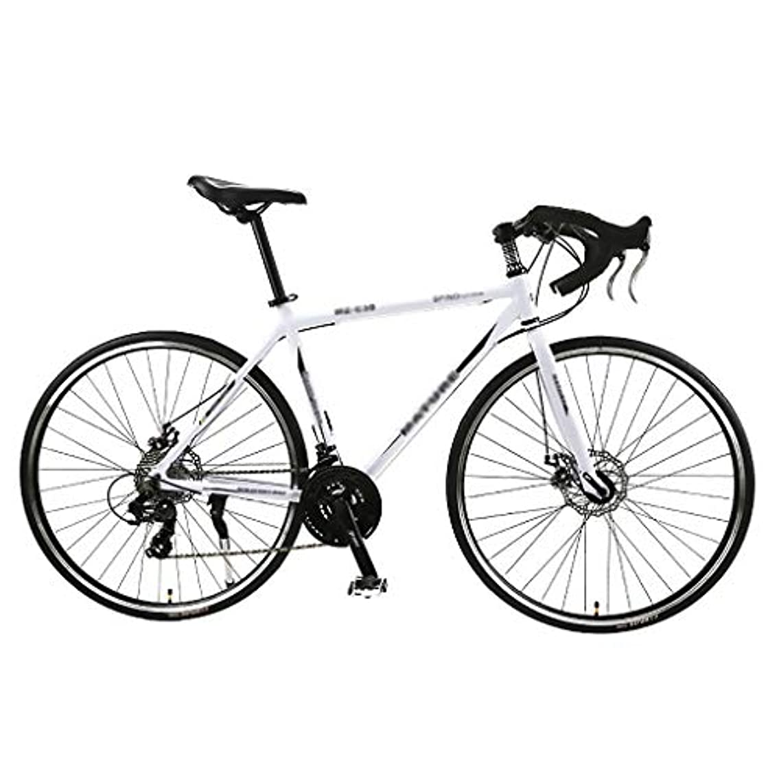 欺く外国人インストールロードバイク26インチ21スピード700Cホイールレーシング自転車デュアルディスクブレーキエクササイズバイクライトアルミフレームファッションロード自転車